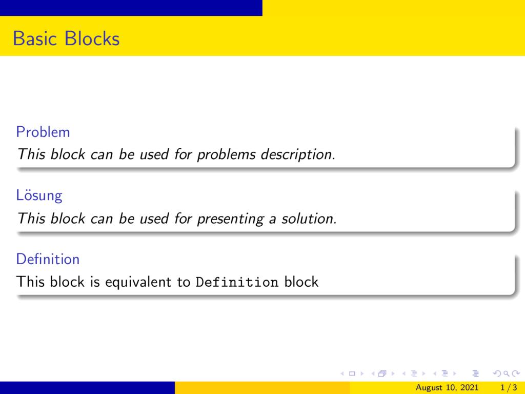 Basic german Blocks in Beamer AnnArbor