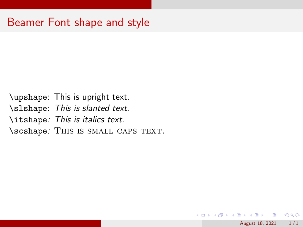 Beamer Font shape and style