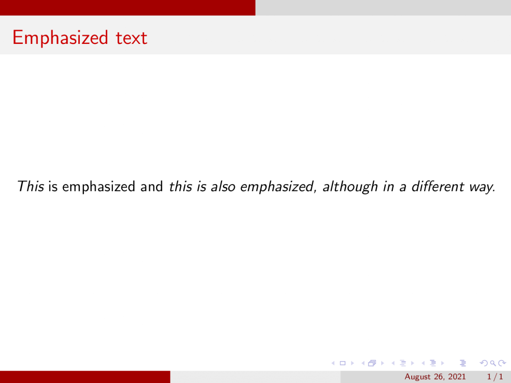 Emphasized text in beamer