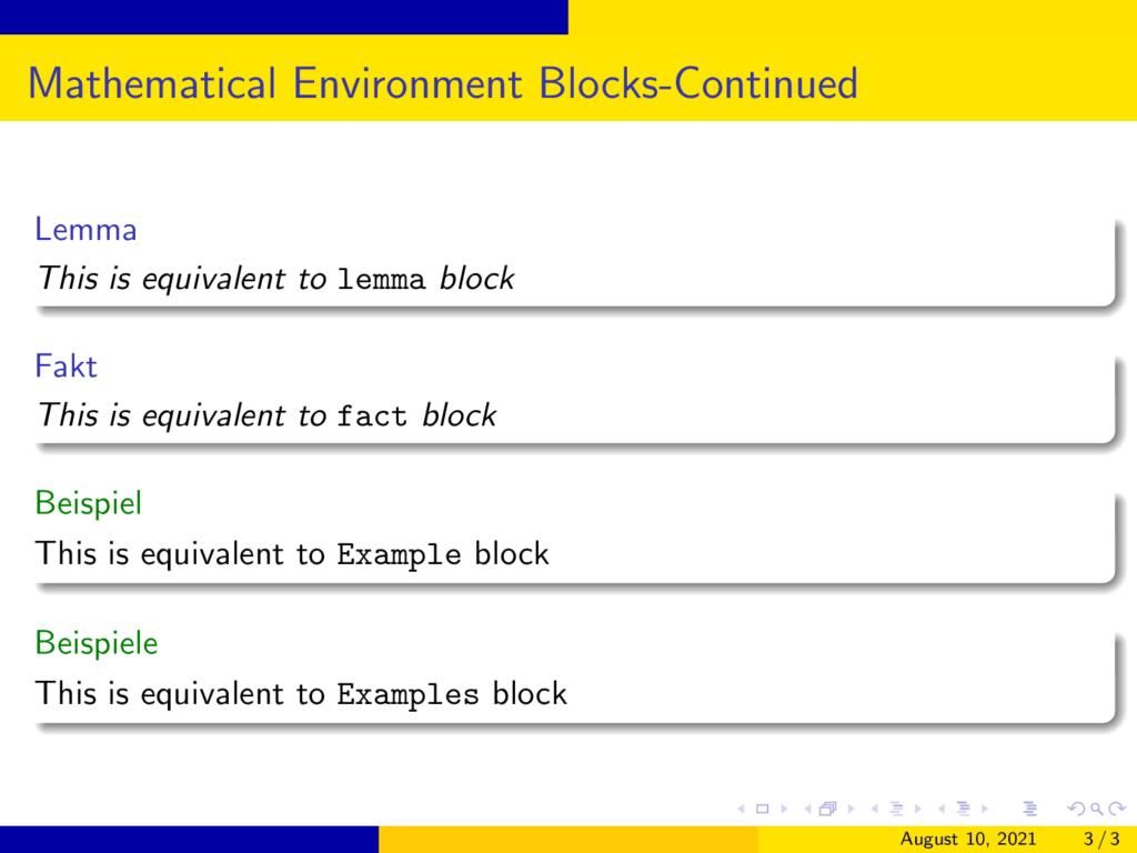 German Math blocks in Beamer AnnArbor2