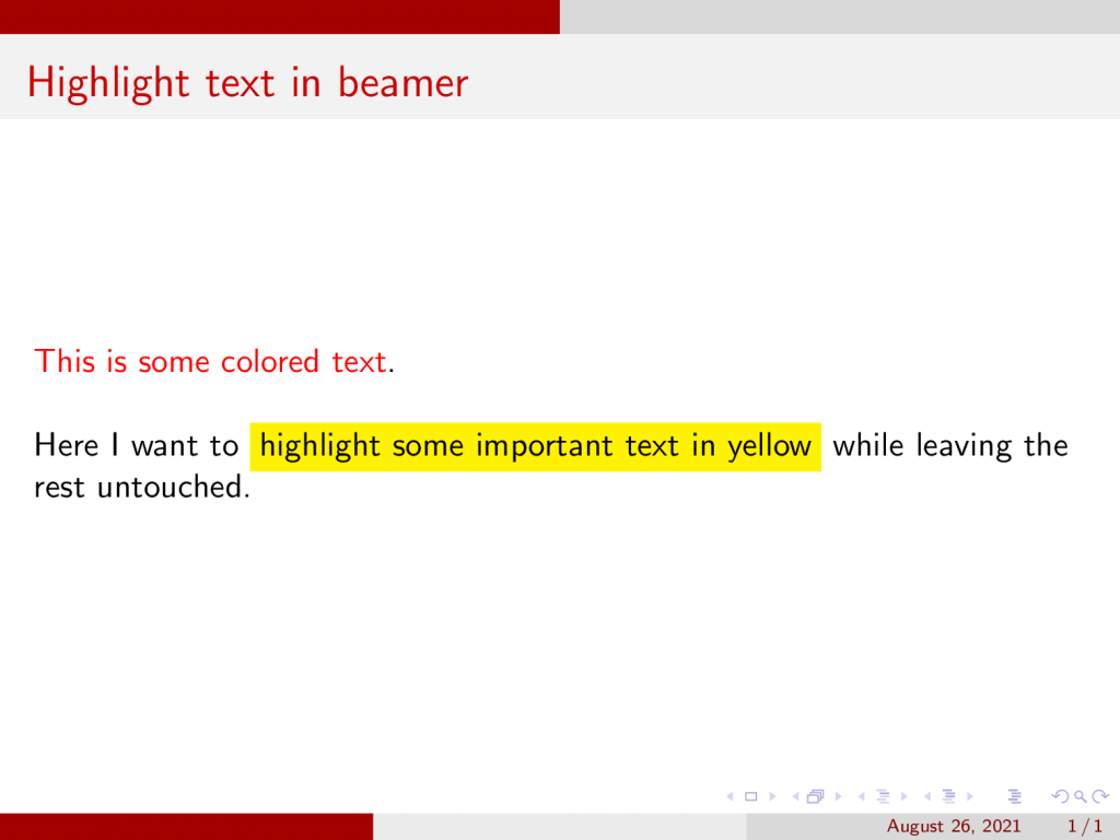 Highlight text in Beamer