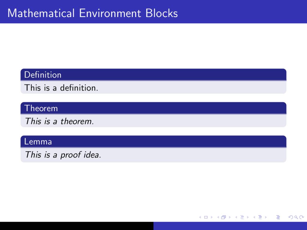 Math blocks in beamer