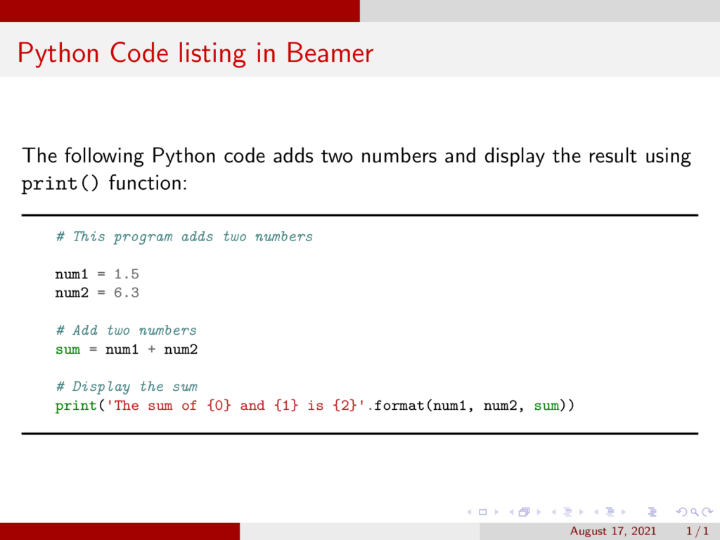 Python Code listing in Beamer